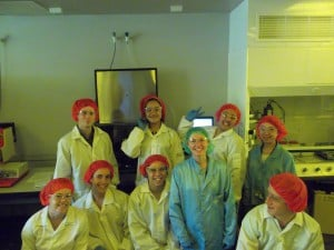 Natalie Plank and Students in the cleanroom