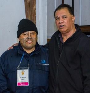 MacDiarmid Institute Board Member Dr Wayne Ngata with Ngā Hononga (Charitable) Trust's Nihi Houia