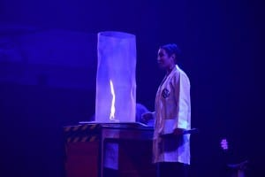 Michelle Dickinson performs science at the Great Hall as part of the Auckland Arts Festival. Photo courtesy of Nanogirl on Facebook